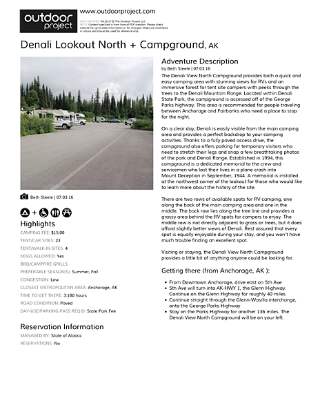 Denali Lookout North + Campground Field Guide