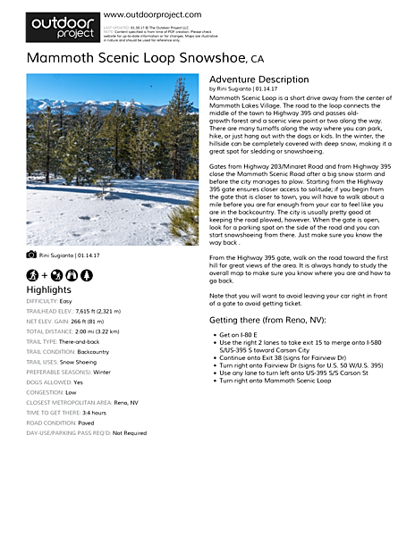 Mammoth Scenic Loop Snowshoe Field Guide