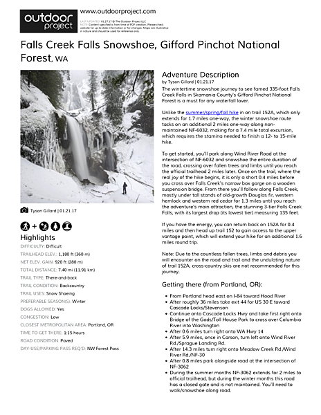Falls Creek Falls Snowshoe Field Guide