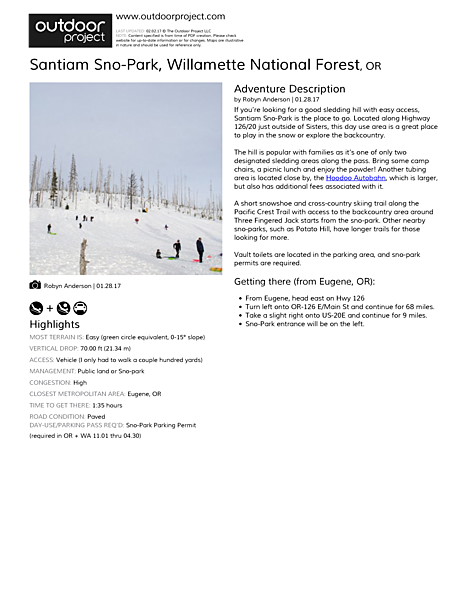 Santiam Sno-Park Field Guide
