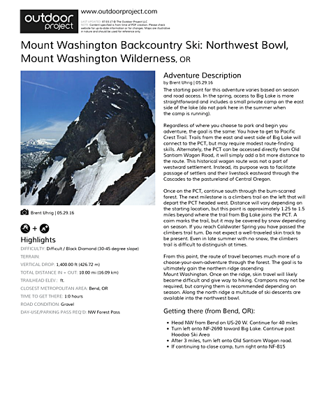 Mount Washington Backcountry Ski: Northwest Bowl Field Guide