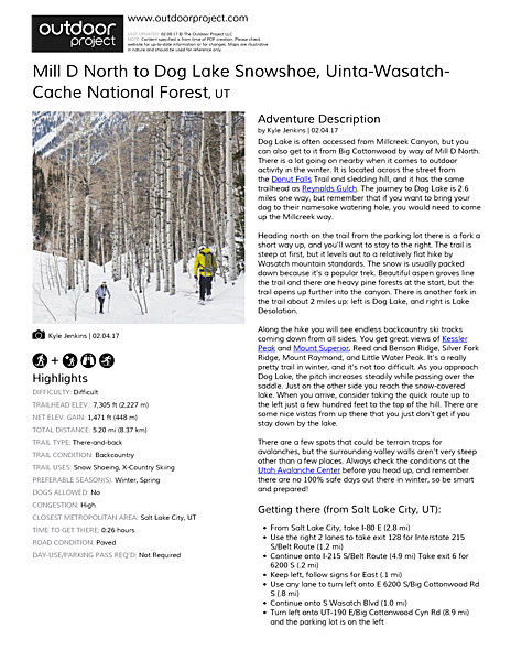 Mill D North to Dog Lake Snowshoe Field Guide