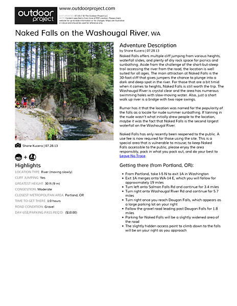 Naked Falls, Washougal River Field Guide