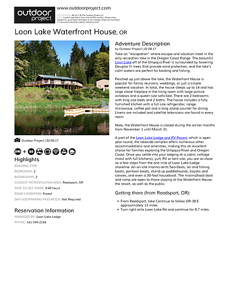 Loon Lake Waterfront House Field Guide