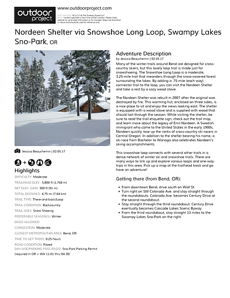 Nordeen Shelter via Snowshoe Long Loop Field Guide