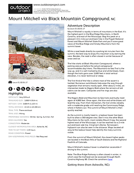 Mount Mitchell via Black Mountain Campground Field Guide