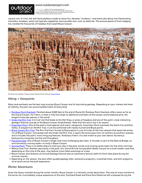 Bryce Canyon National Park Field Guide