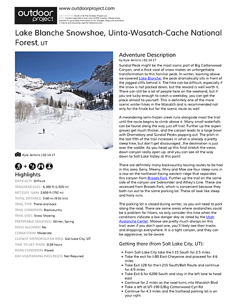 Lake Blanche Snowshoe Field Guide