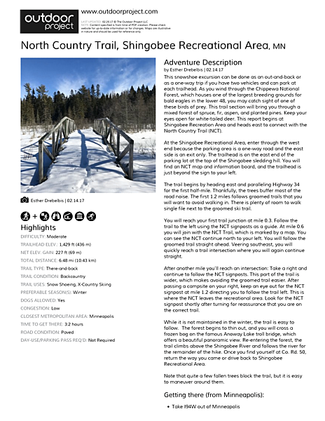 North Country Trail, Shingobee Recreational Area Field Guide