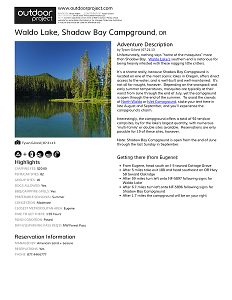 Waldo Lake, Shadow Bay Campground Field Guide