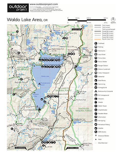 Waldo Lake, Shadow Bay Campground Map