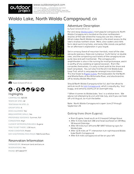 Waldo Lake, North Waldo Campground Field Guide