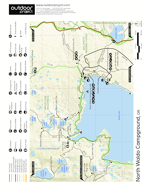 Waldo Lake, North Waldo Campground Map