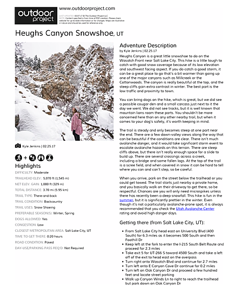 Heughs Canyon Snowshoe Field Guide