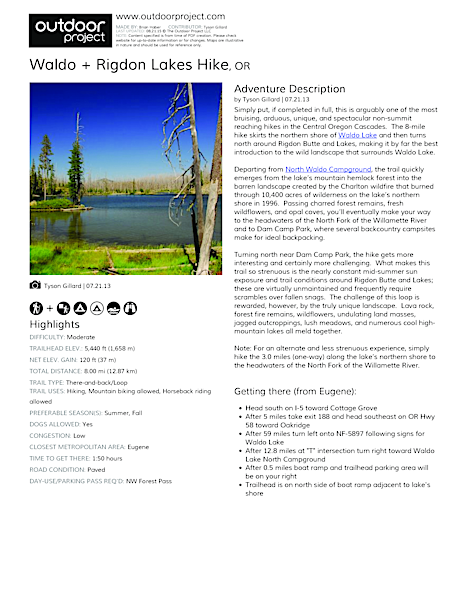 Waldo + Rigdon Lakes Hike Field Guide