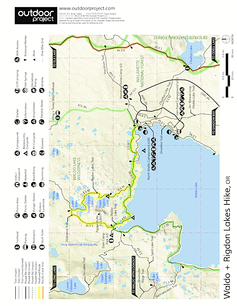 Waldo + Rigdon Lakes Hike Trail Map