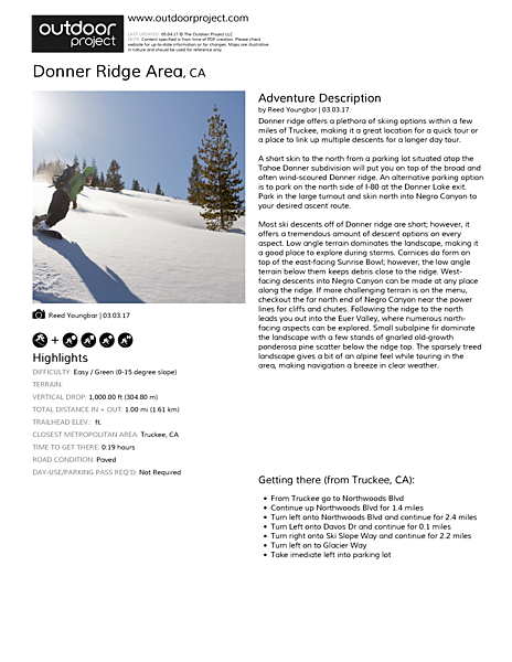 Donner Ridge Area Field Guide