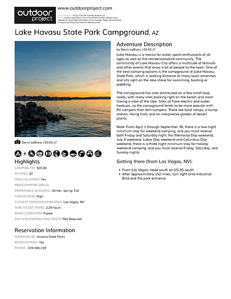 Lake Havasu State Park Campground Field Guide