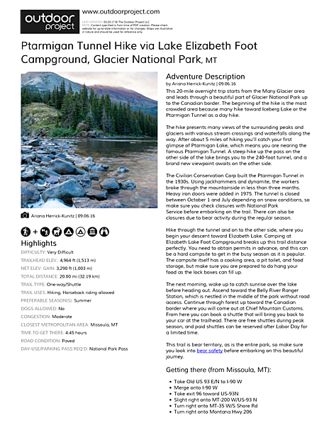 Ptarmigan Tunnel Hike via Lake Elizabeth Foot Campground Field Guide