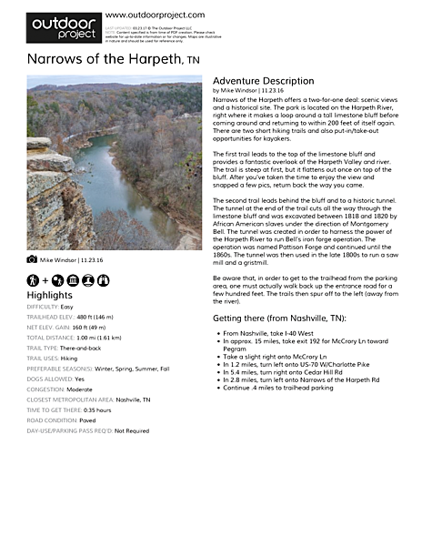 Narrows of the Harpeth Field Guide