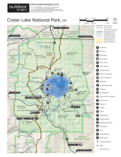 Crater Lake National Park Map