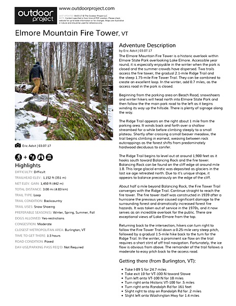 Elmore Mountain Fire Tower Field Guide