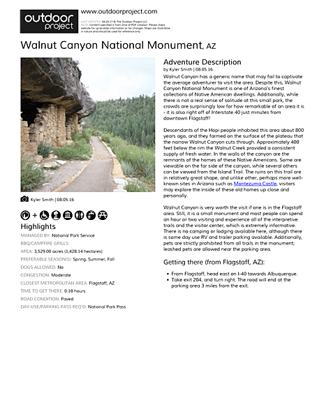 Walnut Canyon National Monument Field Guide