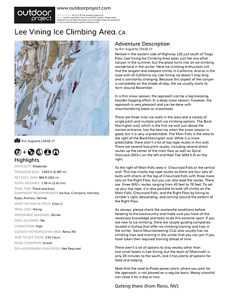 Lee Vining Ice Climbing Area Field Guide