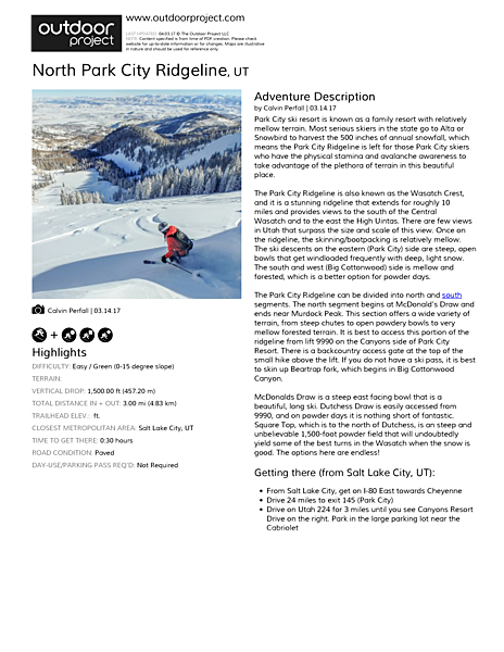 North Park City Ridgeline Field Guide