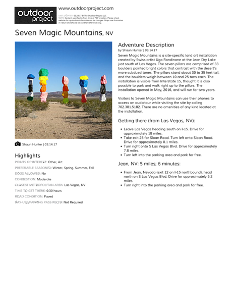Seven Magic Mountains Field Guide