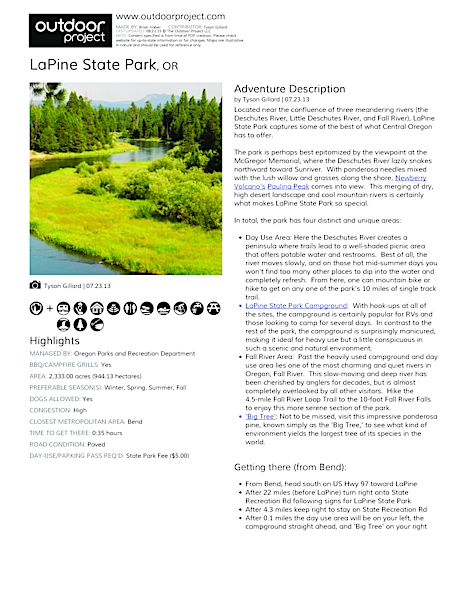 LaPine State Park Field Guide