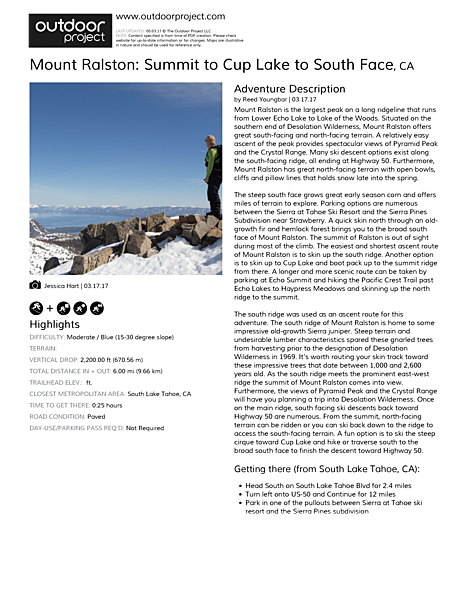 Mount Ralston: Summit to Cup Lake to South Face Field Guide