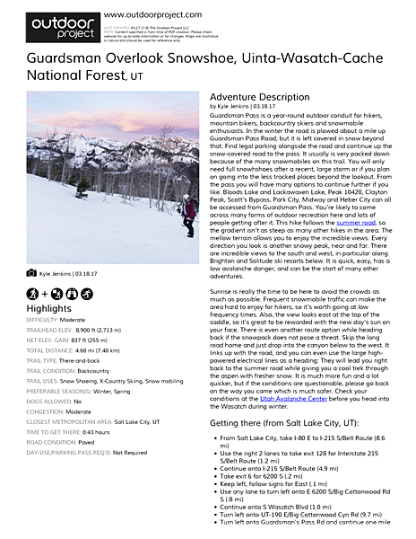 Guardsman Overlook Snowshoe Field Guide
