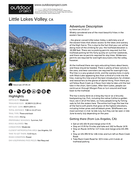 Little Lakes Valley Field Guide