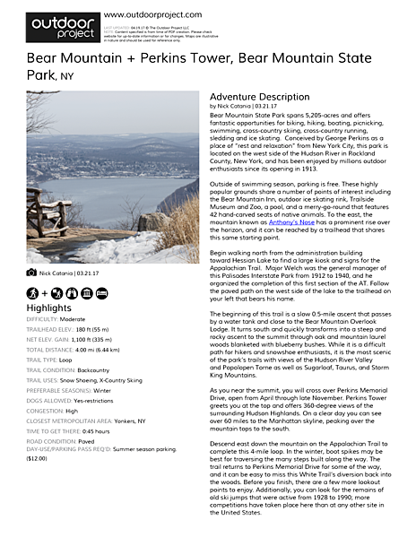 Bear Mountain + Perkins Tower Field Guide