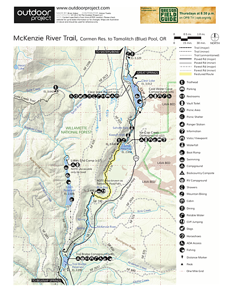 McKenzie River Trail: Carmen Reservoir to Tamolitch Pool Trail Map