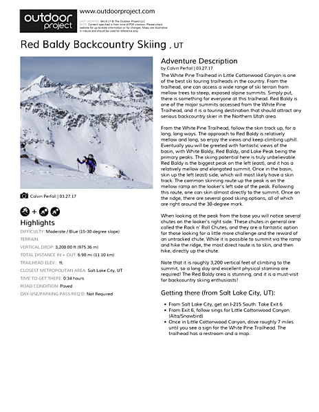 Red Baldy Backcountry Skiing  Field Guide