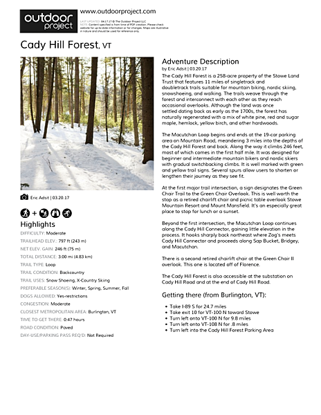 Cady Hill Forest Field Guide