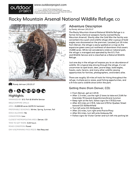 Rocky Mountain Arsenal National Wildlife Refuge Field Guide
