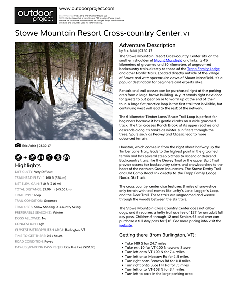 Stowe Mountain Resort Cross-country Center Field Guide