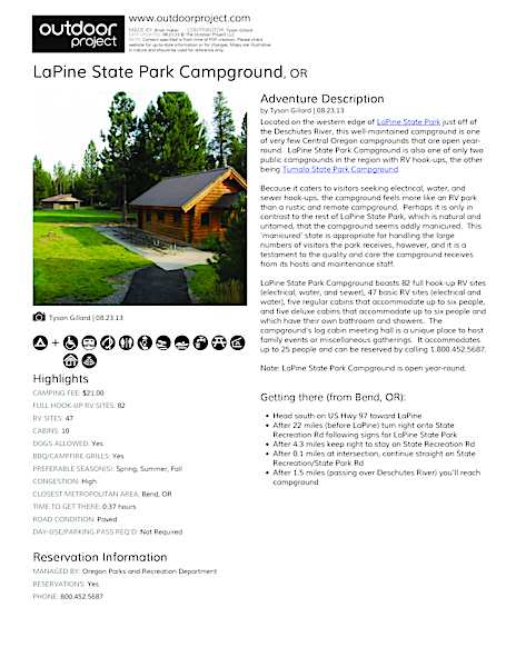 LaPine State Park Campground Field Guide