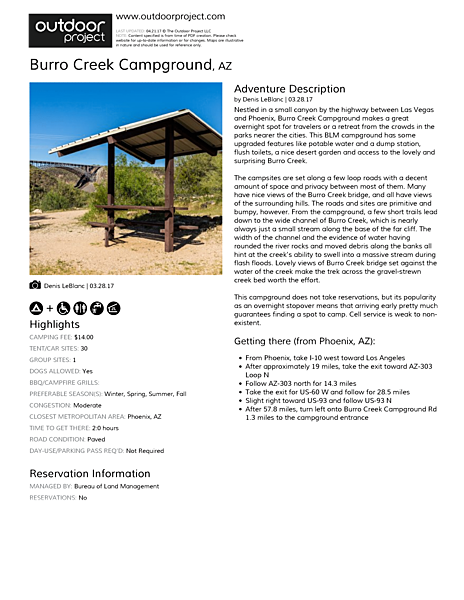 Burro Creek Campground Field Guide