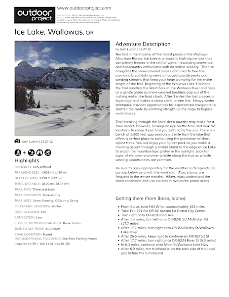 Ice Lake Field Guide