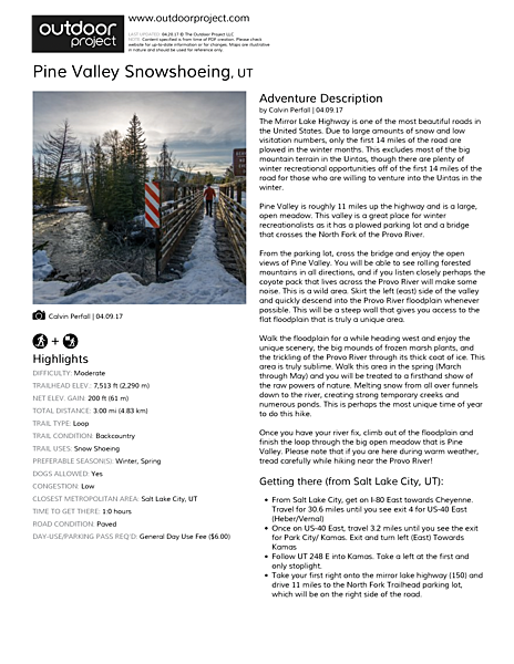 Pine Valley Snowshoeing Field Guide
