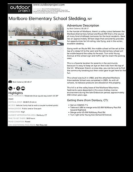 Marlboro Elementary School Sledding | Outdoor Project