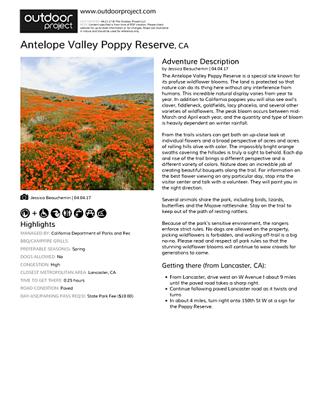 Antelope Valley Poppy Reserve Field Guide