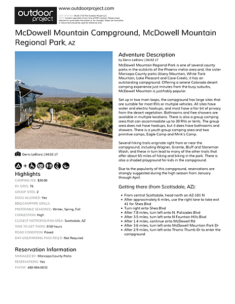 McDowell Mountain Campground Field Guide
