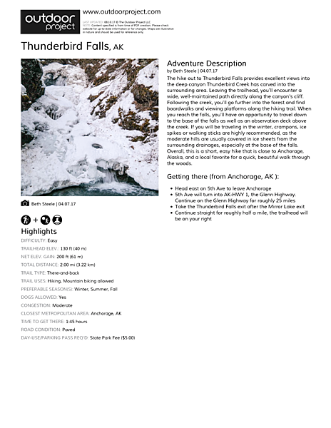 Thunderbird Falls Field Guide