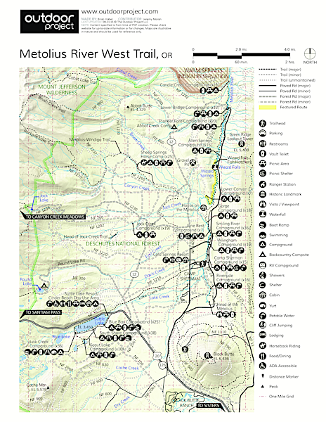 Metolius River Trail West Trail Map