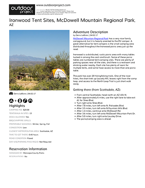 Ironwood Tent Sites Field Guide